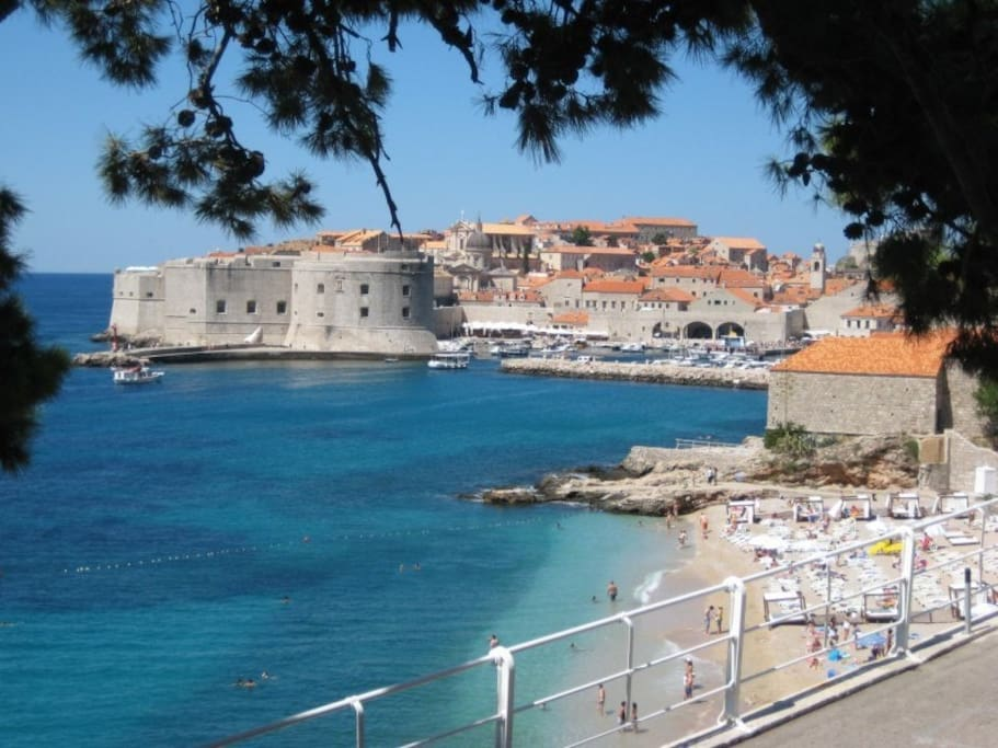The beautiful city beach in Dubrovnik, Croatia