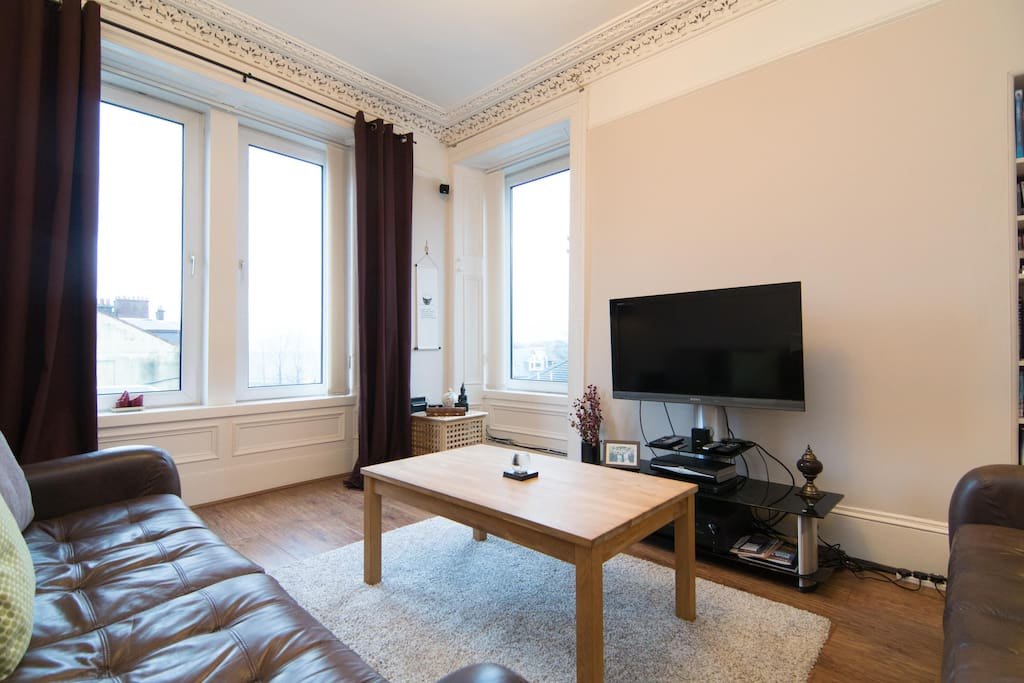 Plenty of natural light and entertainment system.
