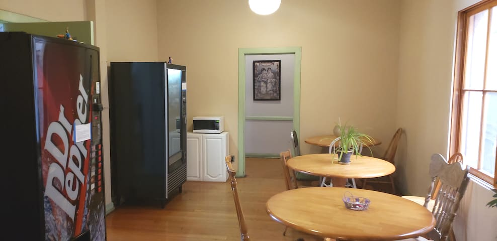 Shared dinning area! Vending machines has snacks, change, and laundry detergent as well as soap and shampoo.