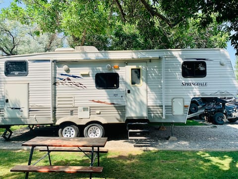 Ennis Cozy Camper: Fishing and Hunting Getaway