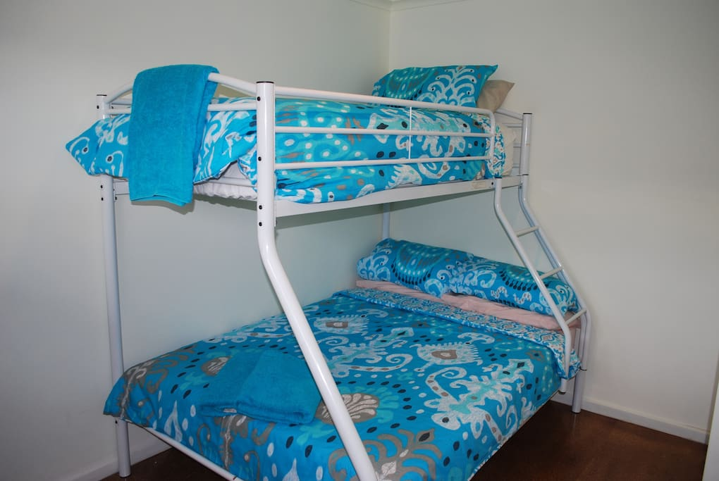Down stairs bedroom Double bed bottom, single bed top