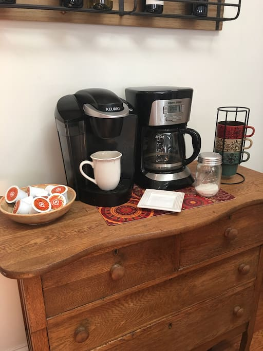 If you're a coffee lover like I am, help yourself to the coffee bar in the kitchen!