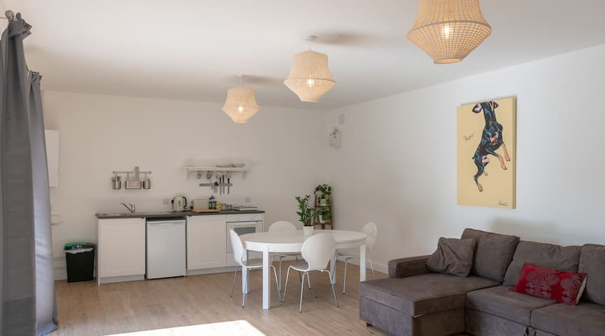 The light, open-plan living space