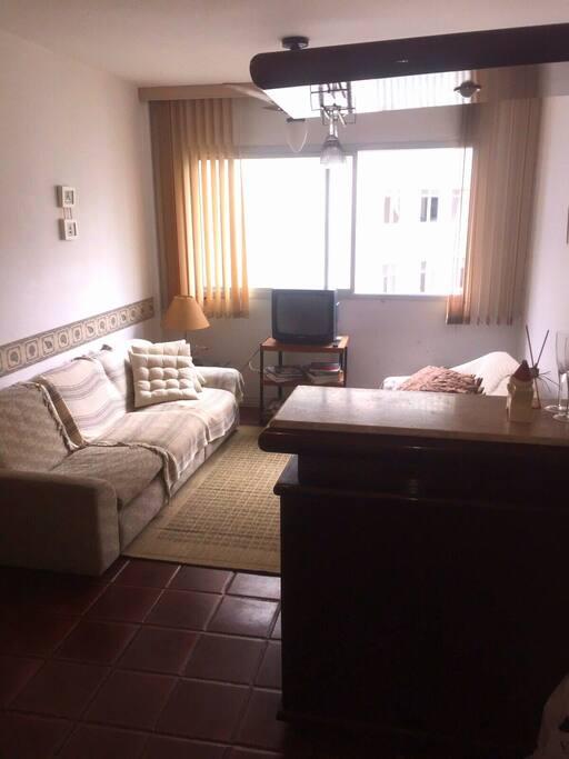 Sala de estar com ventilador de teto e TV
