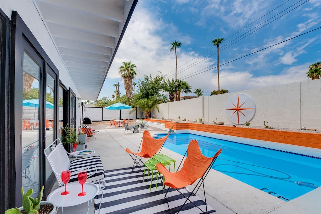 Newly remodeled salt water pool and all the mid century luxe you could ask for.