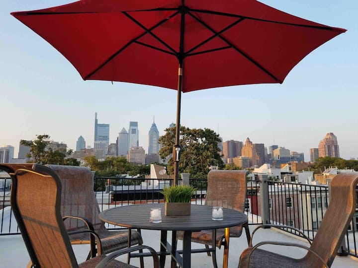 PHILLYLife: Quiet King Bed/1 Ba Roofdeck w/Views
