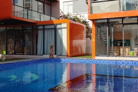 beach vacation ⛱ pool villas 🏊♂️ kitchen🍽washer