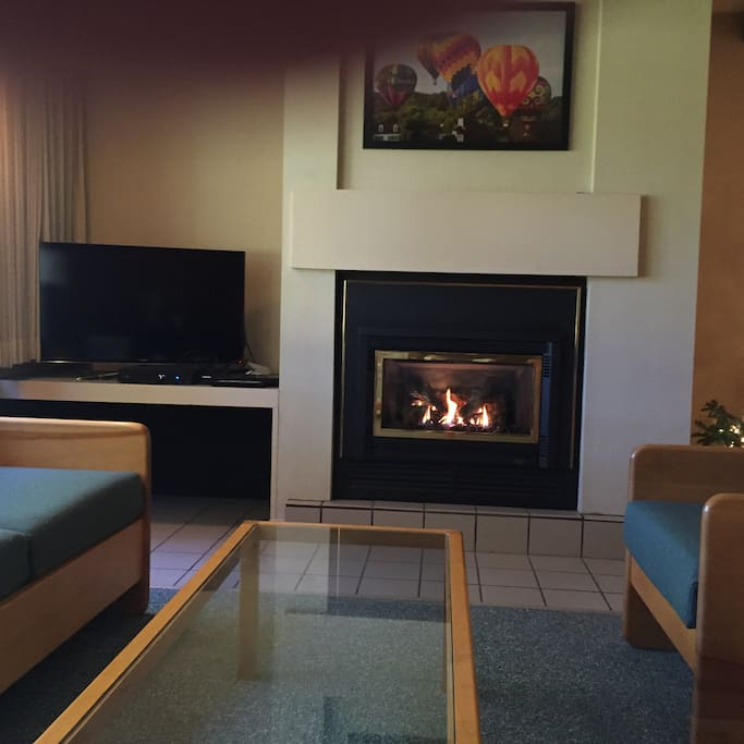 Gas Fireplace and Flatscreen TV
