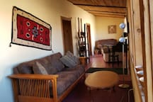The living room and setting room in the front of the Casita.