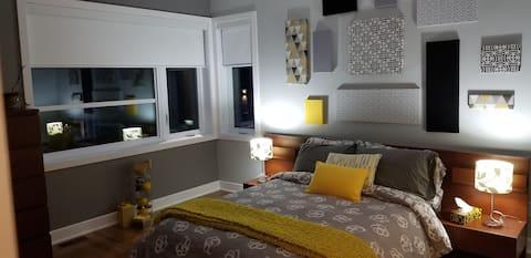 Beautiful bedroom in modern house.