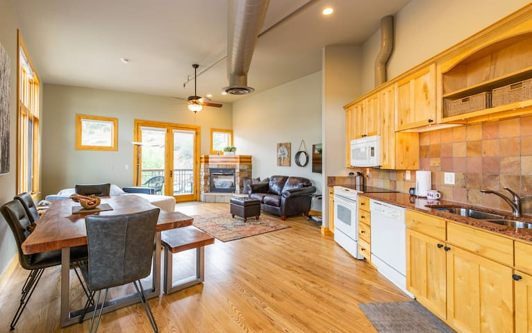 Kitchen, dining, living - open concept! Hardwood floors throughout!