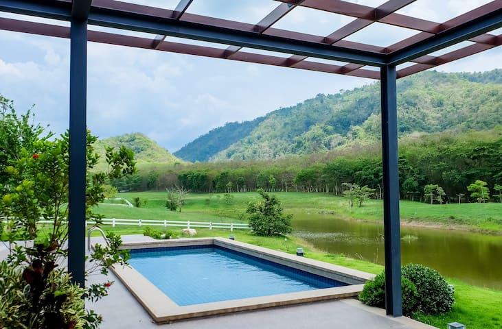 Lakeside pool villa residence