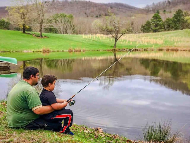 Fishing in the upper pond