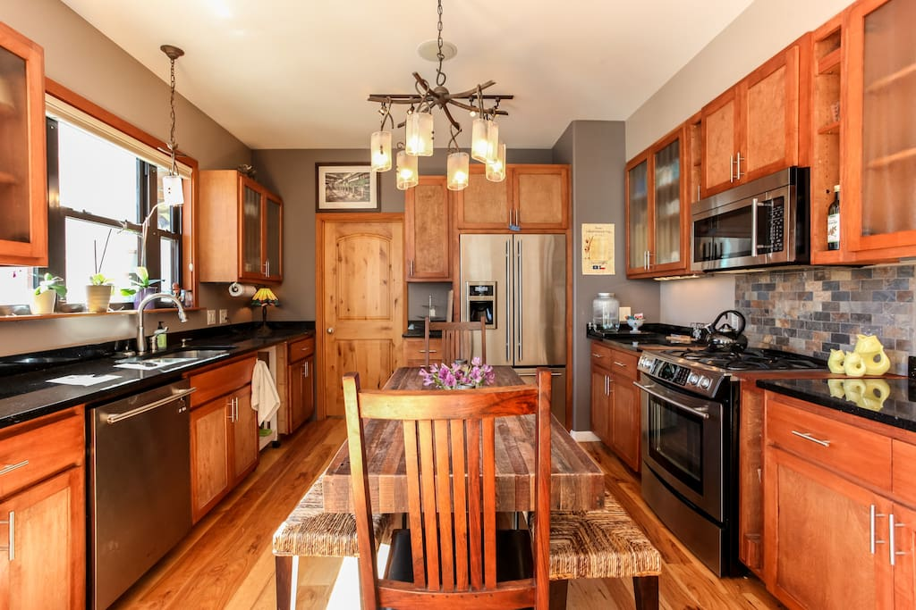 Cottage B:  Modern kitchen, fully stocked with every appliance imaginable.