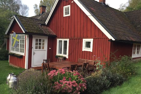 Red cabin in the Swedish countryside