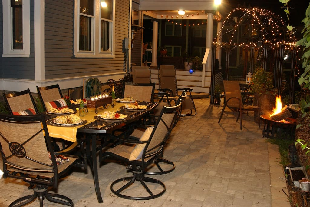 Enjoy dining under the stars in the private courtyard