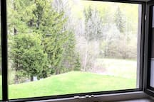 A view of the meadow and a quiet forest with relaxing sound of stream adds a special charm to the studio.