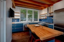 Kitchen and Live Edge Island