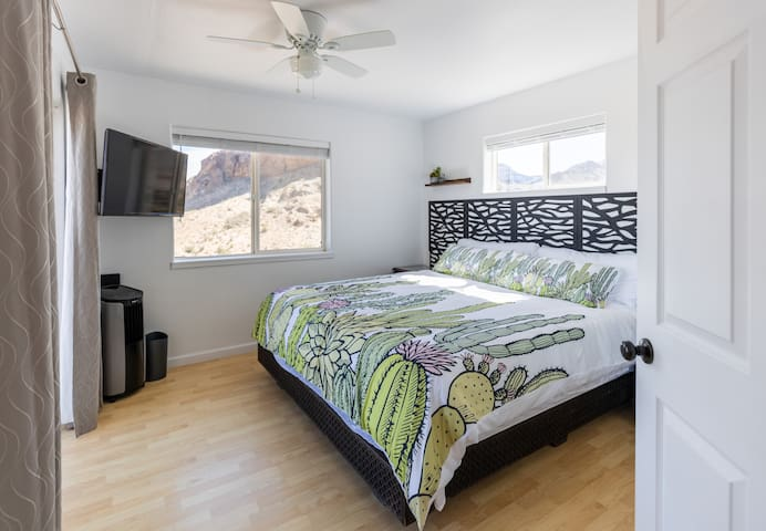 Main bedroom with Dish tv and king size bed!