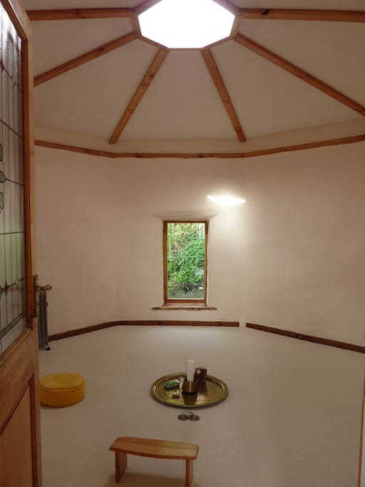 House of silence, it is an Oktagon,with light from the roof,  only for Meditation