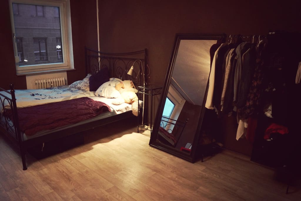 double-sized bed,mirror and wardrobe