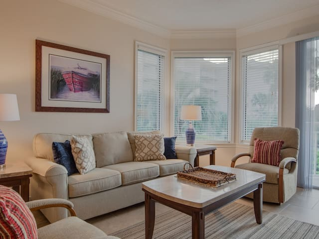 Living Room with Balcony Access and Ocean Views at 1104 Sea Crest