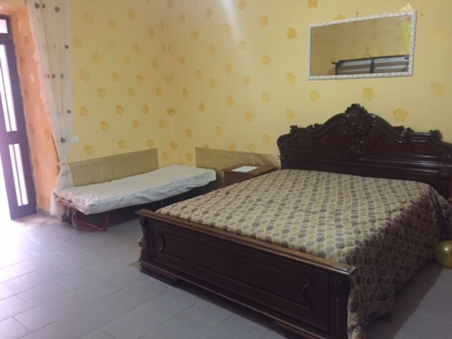 Double bed with small bed