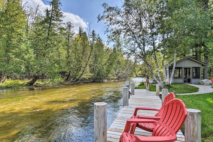 This Kingsley property offers access to 4 kayaks and a private dock!