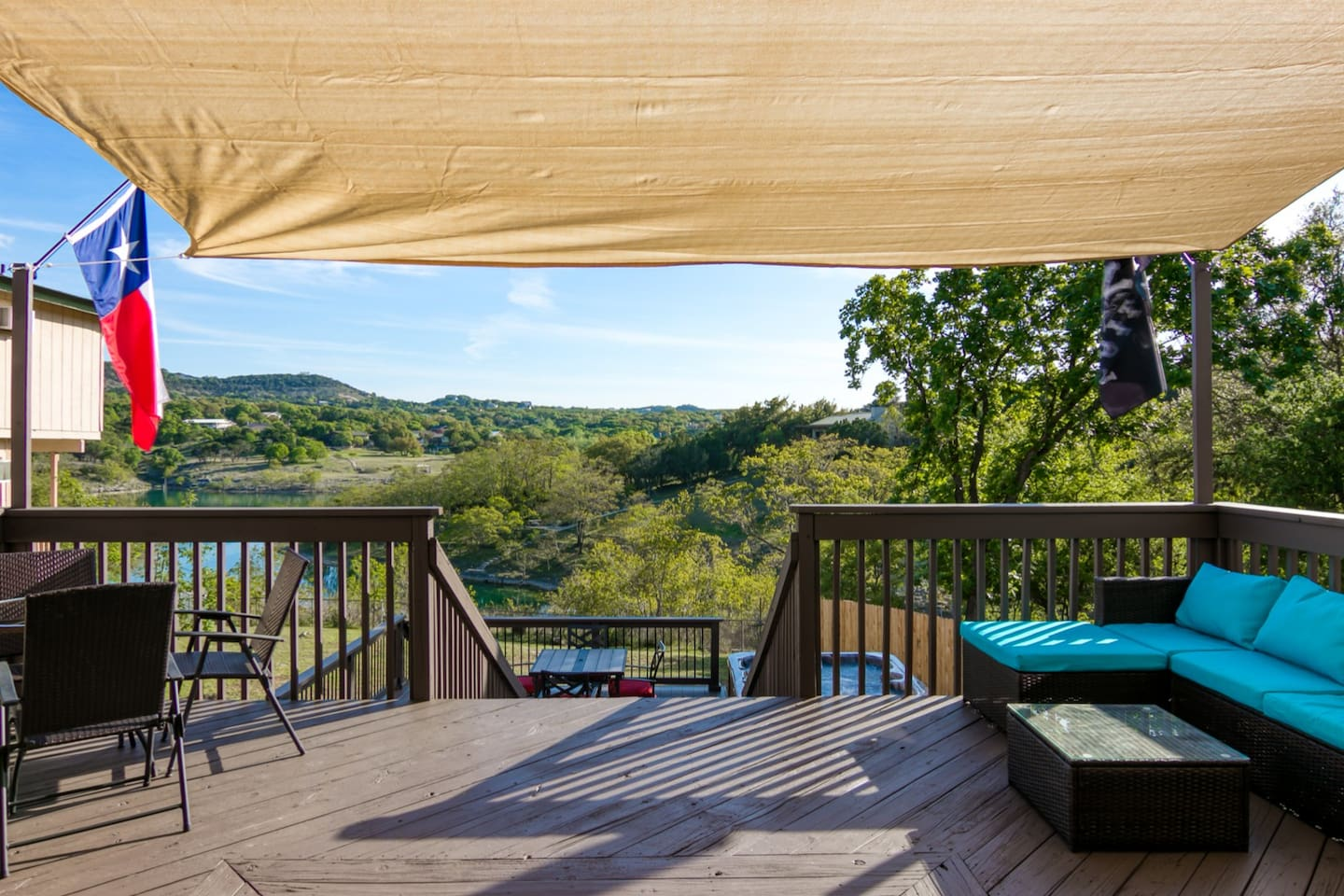Large multi level deck with Weber Grill, Tiki bar, hot tub, tons of seating and breathtaking views!