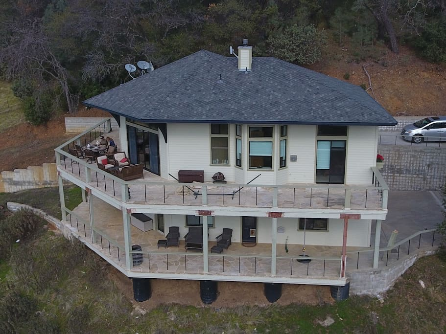 House has upper and lower decks with views of the sunset, Amador Creek Valley and across Central Valley and Sacramento.