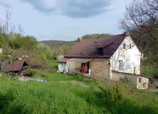 Village house, garden, Swimm pool 30 min to Prague