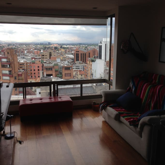 The hall has a beautiful view of the west of Bogotá.