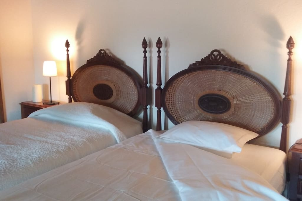 The bedroom has two single beds that can can joined or separate.