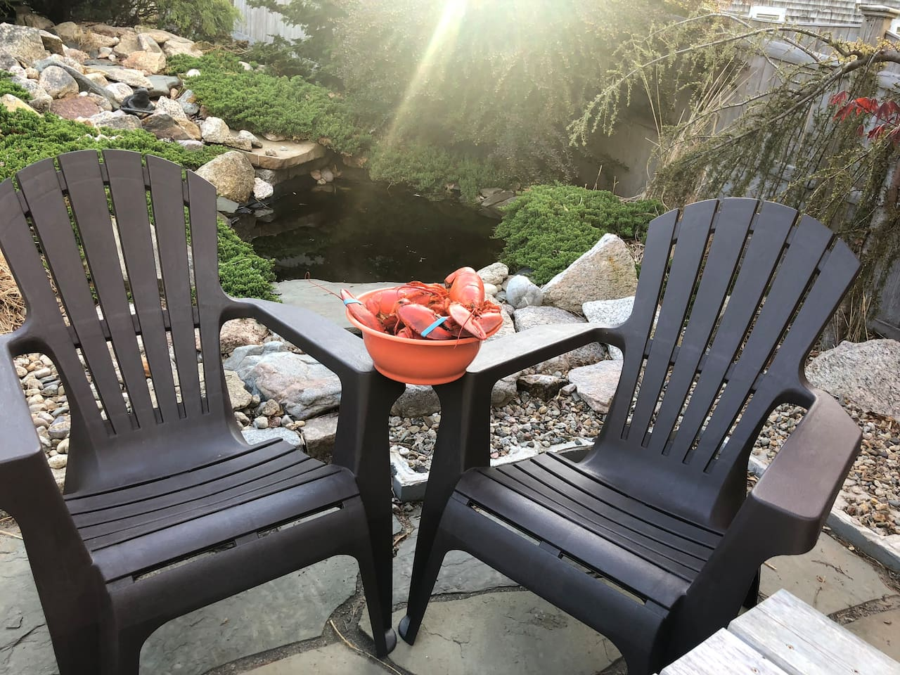 Lobstah anyone?!!  Enjoy dinner or your morning coffee sitting by the fish pond with the flowing waterfall.
