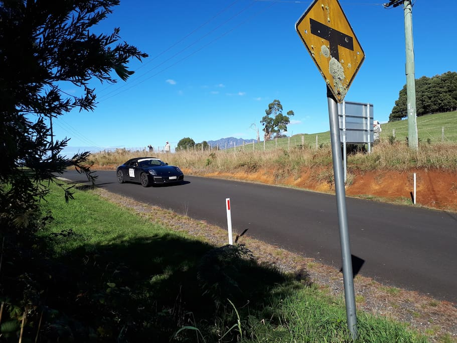 In April for a couple of hours, Targa Tasmania comes right past the door