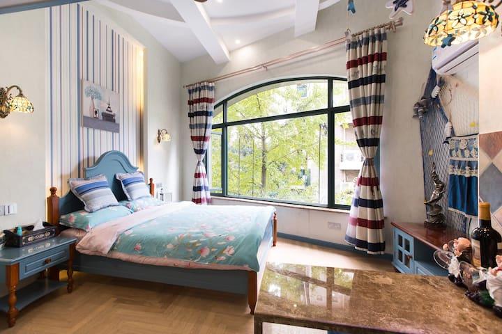 毗邻西溪湿地灵隐LOFT精装修单身公寓—紫庭雅舍地中海 - Hangzhou - Apartmen