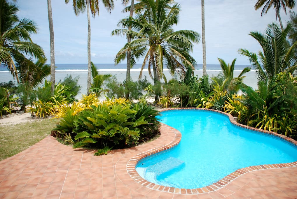 View of the pool from the veranda