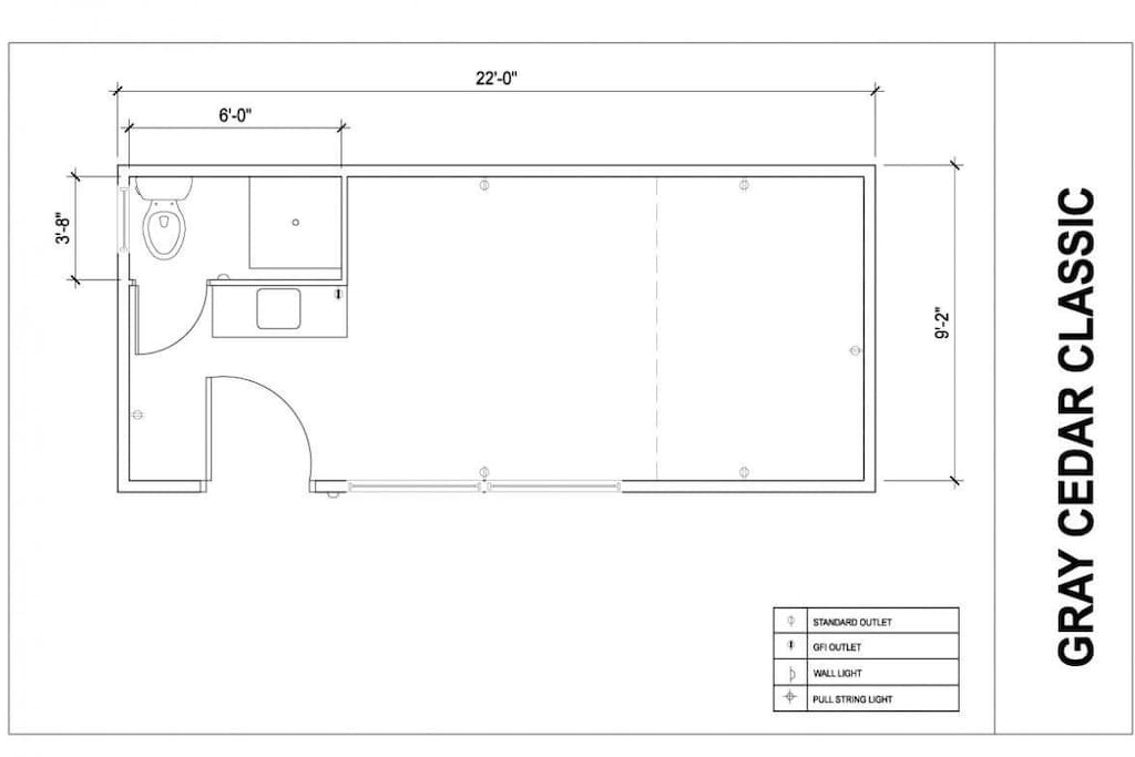 Floor plan. The Tiny House includes a full size shower, loft with new King size mattress and a new queen sofa couch.