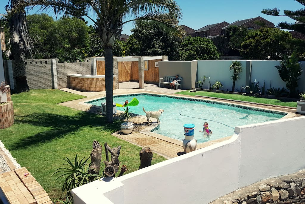 Front garden and swimming pool in Summer