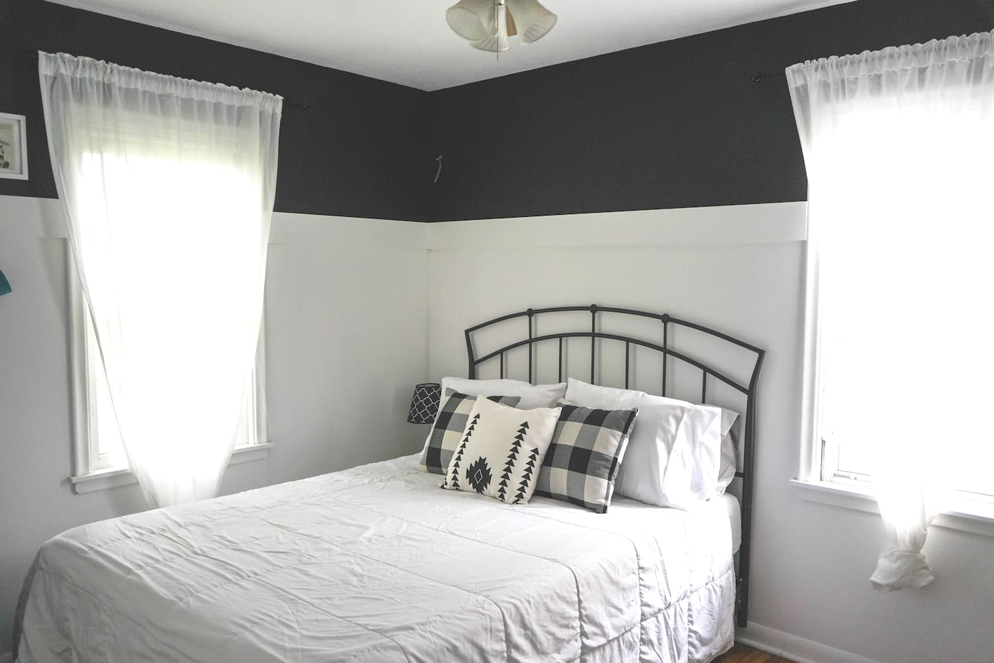 Queen bed is perfect for couples or solo travelers! This cozy MN-themed space comes complete with a microwave, coffee, tea, wine, a minifridge for snacks, and breakfast options.
