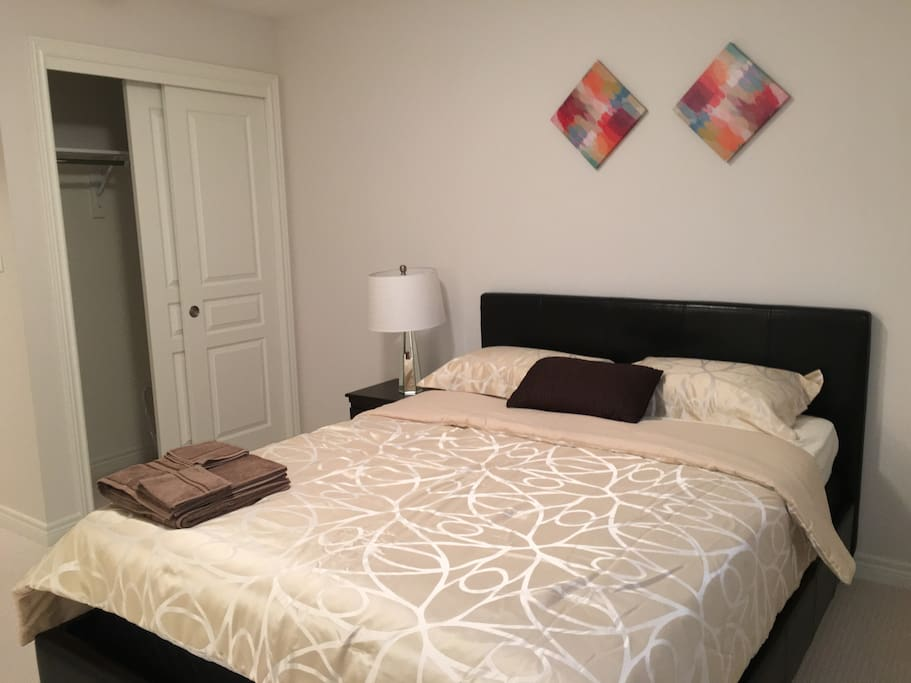 beautiful room with queen size bed, private closet space to use and attached washroom