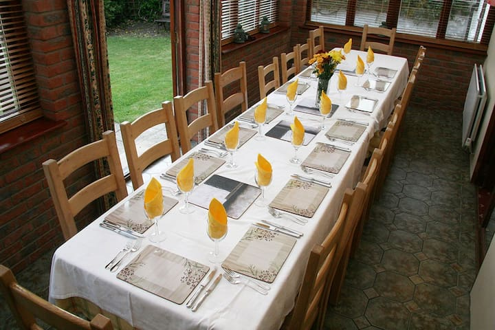 Large dining table seats 18