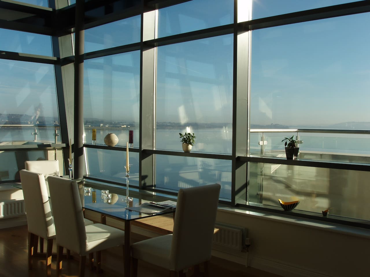 Spacious dining area with Cork harbour views