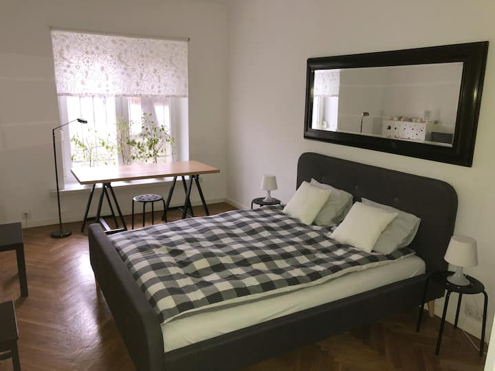 Spacious room with a queen bed on the ground floor