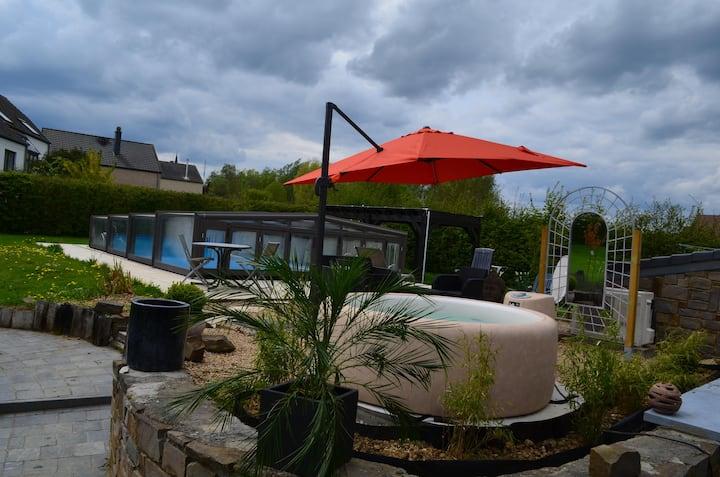 Gîte 2 à 3 pers avec piscine chauffée-couverte,spa