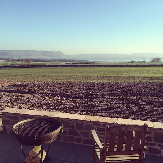 Patio overlooking Loch Leven