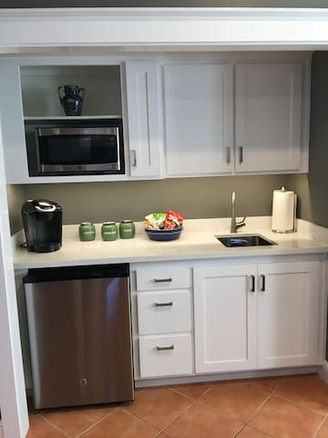 Kitchenette with microwave, sink, refrigerator