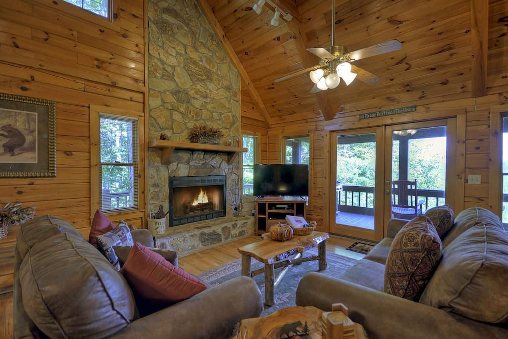 Living Room with a Wood Burning Fireplace