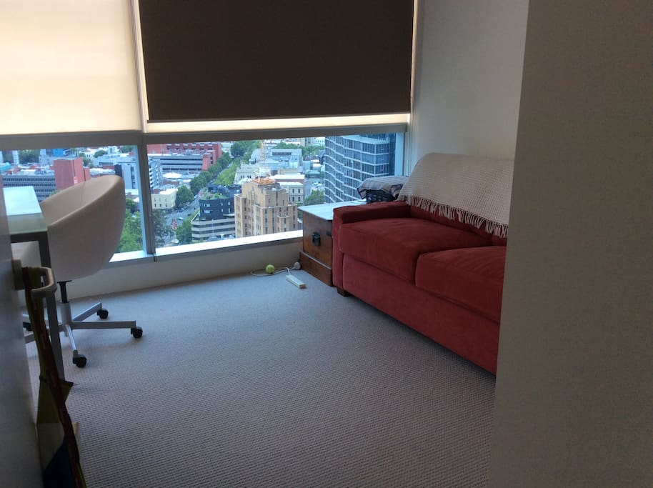 2nd bedroom.  Double Moran sofa bed. Desk and chair.  Expansive views.