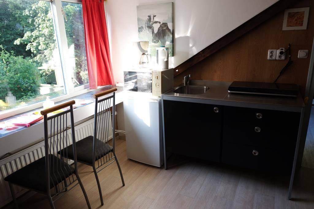 Keuken met inductie kookplaat, magnetron, waterkoker, koffiezetapparaat en koelkast